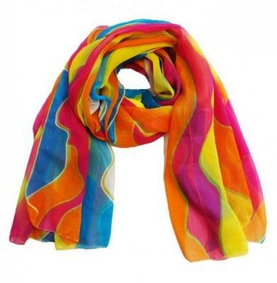 Pareo Sjaal Multi Colors kleurrijke polyester sjaals omslagdoek print kopen bestellen dames