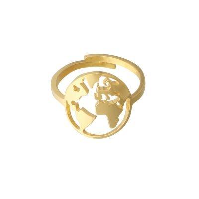Ring Beautiful World goud gouden dames verstelbare ringen wereld detail kopen