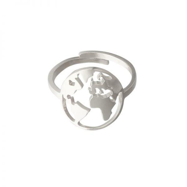 Ring Beautiful World zilver zilveren rvs dames verstelbare ringen wereld detail kopen