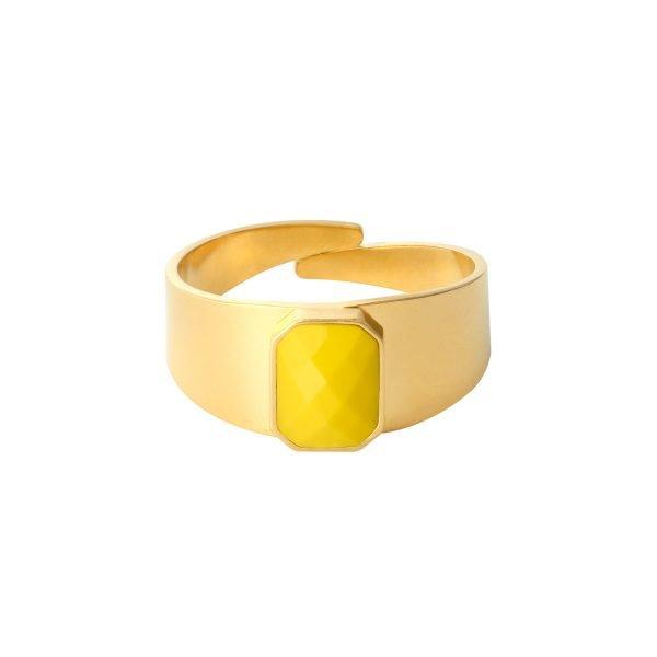 Ring Love Rocks goud gouden verstelbare ring geel gele steen fashion dames sieraden yehwang kopen