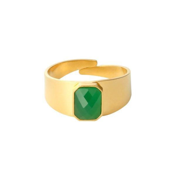 Ring Love Rocks goud gouden verstelbare ring groen groene steen fashion dames sieraden yehwang kopen