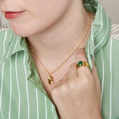 Ring Love Rocks goud gouden verstelbare ring groen groene steen fashion dames sieraden yehwang kopen bestellen