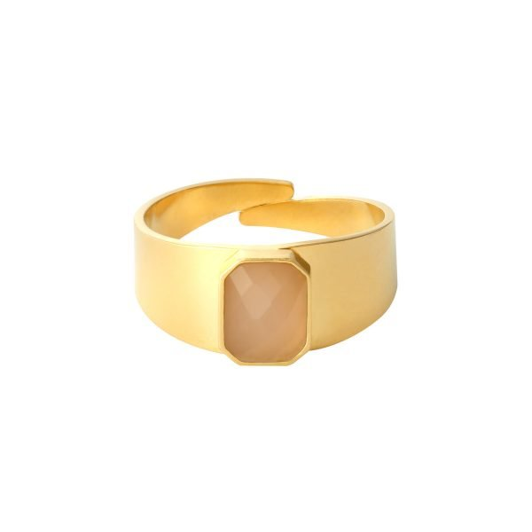 Ring Love Rocks goud gouden verstelbare ring roze pink nude steen fashion dames sieraden yehwang kopen