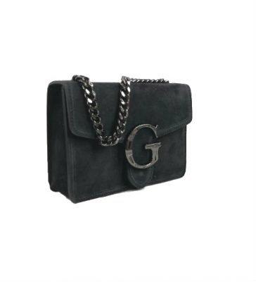 Suede Tas G zwart zwarte leren tassen guiliano luxe it bags kopen goedkoop fashion side