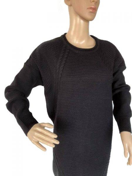 07dd55753334d3 Sweater-Dress-Classy-zwart-zwarte-lange-gebreide-dames-