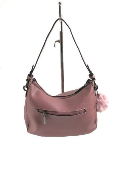 Tas Billy roze pink oud roze kunstleder tassen wollen bolletje tassenhengsel studs fashion tassen kopen luxe achter