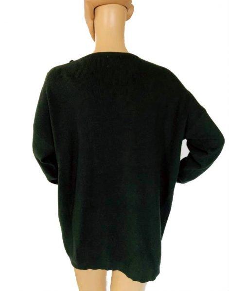 Trui-Buttons groen groene lange-dames-truien-v-hals-sexy-sweaters-winter-kleding-kopen achter
