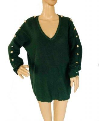 Trui-Buttons-groen groene lange-dames-truien-v-hals-sexy-sweaters-winter-kleding-kopen bestellen