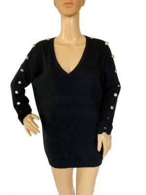 Trui-Buttons- zwart zwart lange-dames-truien-v-hals-sexy-sweaters-winter-kleding-kopen bestellen