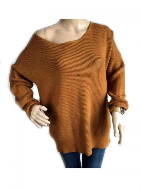 Trui Tiffany Lace oker bruin bruine lange dames sweater truien kanten veter detail rug sexy zachte