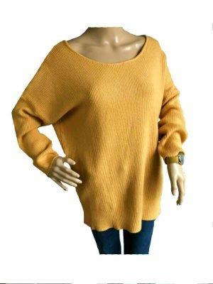 Trui Tiffany Lace oker geel gele lange dames sweater truien kanten veter detail rug sexy zachte