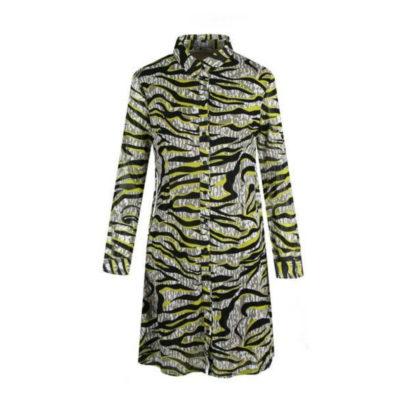 Tuniek Fancy Zebra zwart gele dames jurken lange mouwen blouse tunieken werk kleding fashion online kopen jurk kantoor