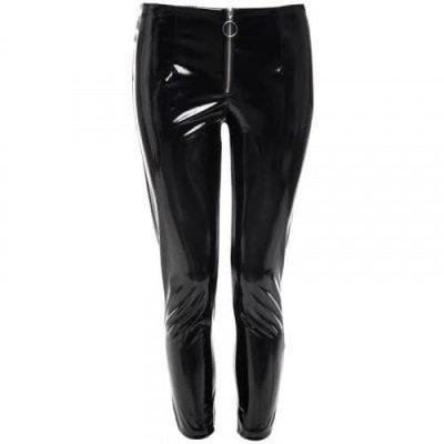 Vinyll Legging Zipper zwarte zwart leggings broeken dames zilveren rits voor fashion lak kopen