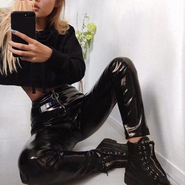 Vinyll Legging Zipper zwarte zwart leggings broeken dames zilveren rits voor fashion lak kopen online
