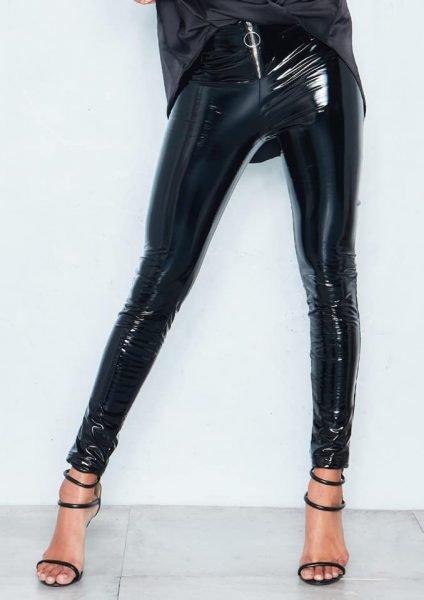 Vinyll Legging Zipper zwarte zwart leggings broeken dames zilveren rits voor fashion lak leer