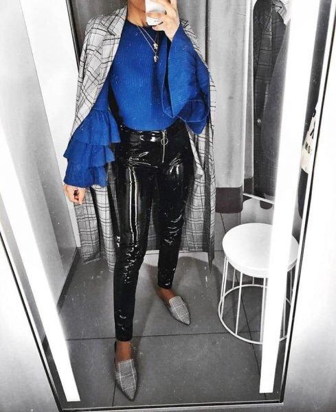 Vinyll Legging Zipper zwarte zwart leggings broeken dames zilveren rits voor fashion lak lsexy