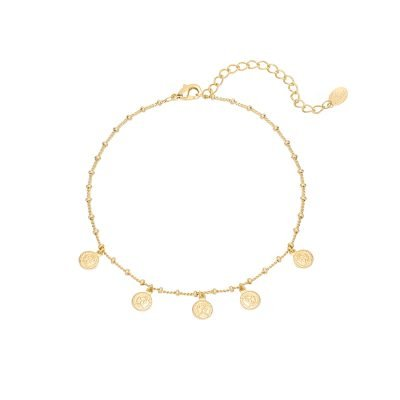 Enkelbandje Tiny Coins goud gouden dunne enkelbandjes munt bedeltjes fashion anklebracelet kopen