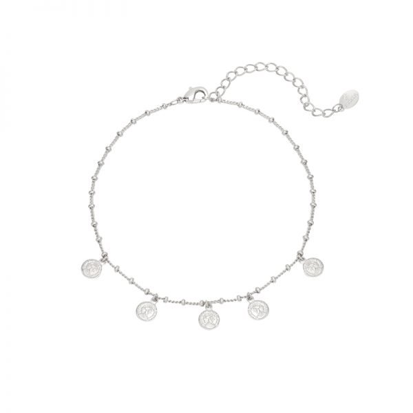 Enkelbandje Tiny Coins zilver zilveren dunne enkelbandjes munt bedeltjes fashion anklebracelet kopen