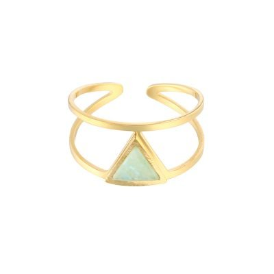 Gouden Ring Love Triangle mint turquoise steen driehoek fashion jewelry open ringen online kopen