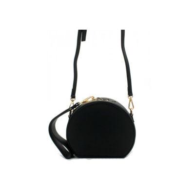 Half-Ronde-Tas-Must-zwart-zwarte-ronde-dames-tassen-kunstleder-rits-polsbandje-lang-hengsel-kopen-tassen-online