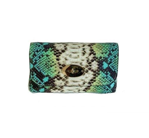 Leren-Schoudertas-Classic-snake-turquoise mint leer-slangenprint-lederen-tasjes-lang-zilveren-ketting-hengsel-bags