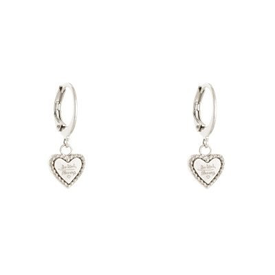 Oorbellen Hart Be Kind zilver zilveren dames Oorbel rvs tekst bedel fashion lovers Oorbellen earrings online kopen