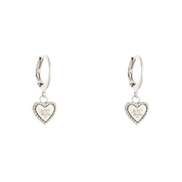 Oorbellen Hart Be Kind zilver zilveren dames Oorbel rvs tekst bedel fashion lovers Oorbellen earrings online kopen