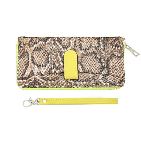 Portemonnee Snakey Beige geel neon gele slangenprint portemonnees wallets polsbandje clutches kopen