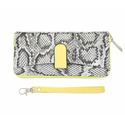 Portemonnee Snakey geel neon gele grijs slangenprint portemonnees wallets polsbandje clutches kopen