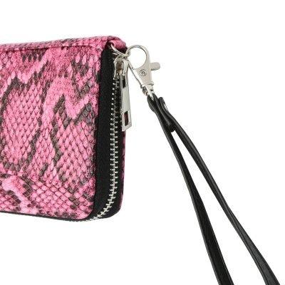 Portemonnee Snakey roze pink neon zwarte slangenprint portemonnees wallets polsbandje clutches kopen details