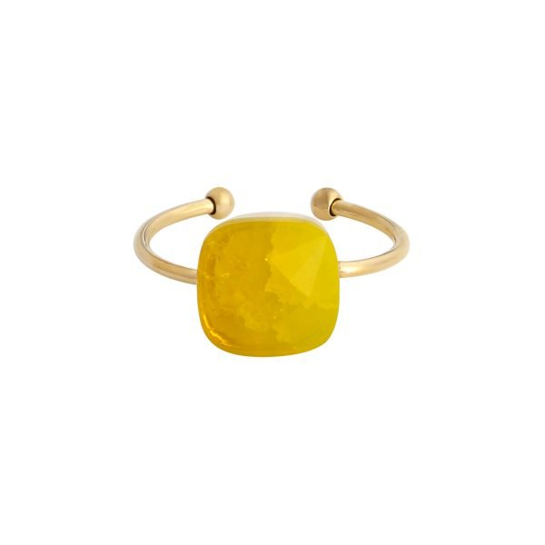 Ring Magic Stone gele geel stenen open