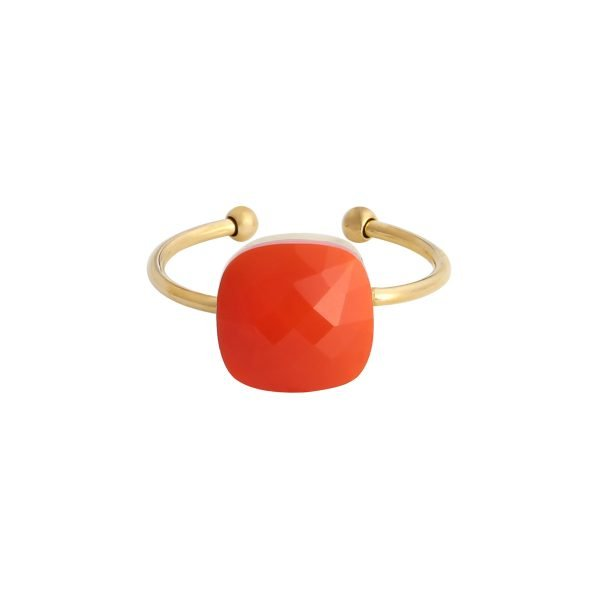 Ring Magic Stone oranje stenen gouden