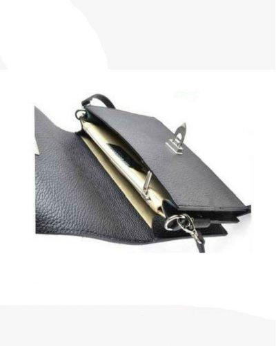 Schouder-Clutch-Tas-Berry-zwart zwarte leren schoudertassen giuliano lederen italiaanse tassen kopen zilver beslag side
