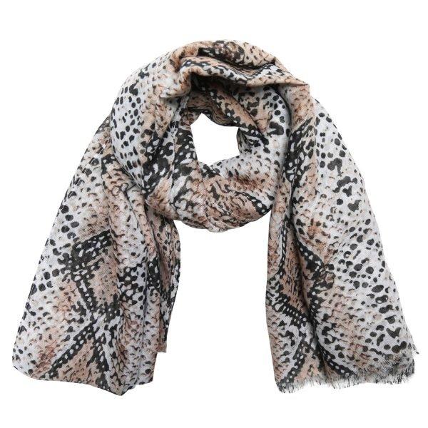 Sjaal Lovely Snakes beige creme nude dames sjaals sjaaltjes slangenprint snakeprint kopen bestellen
