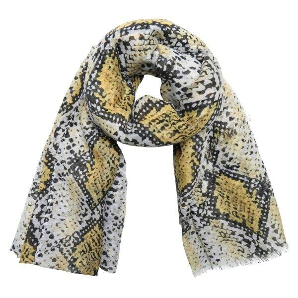 Sjaal Lovely Snakes geel gele dames sjaals sjaaltjes slangenprint snakeprint kopen bestellen
