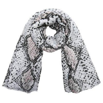Sjaal Lovely Snakes grijs grijze dames sjaals sjaaltjes slangenprint snakeprint kopen bestellen