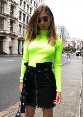 neon groen coltrui turtleneck pink