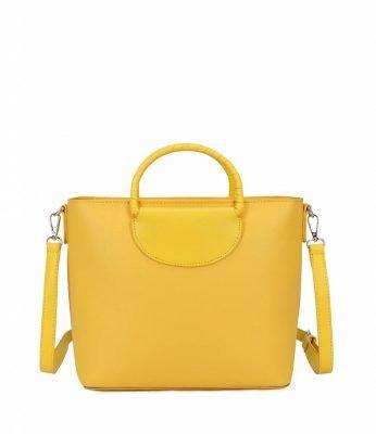Bag in Bag Dylan geel gele dames handtassen tassen rond handvat giulliano tassen kopen binnentas etui