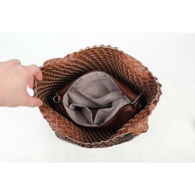 Bag in Bag Tas Inside Out zwart zwarte bruin bruine tas Gevlochten 2 kleurige tas beide kanten extra tas kopen bestellen