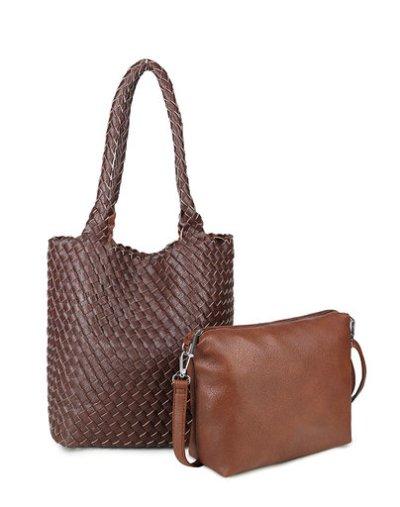 Bag in Bag Tas Inside Out zwart zwarte bruin bruine tas Gevlochten 2 kleurige tas beide kanten extra tas kopen bestellen trends