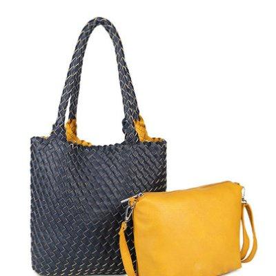 Bag in Bag Tas Inside Out zwart zwarte geel gele tas Gevlochten 2 kleurige tas beide kanten extra tas kopen bestellen