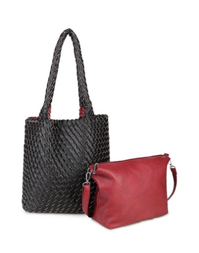Bag in Bag Tas Inside Out zwart zwarte rood rode tas Gevlochten 2 kleurige tas beide kanten extra tas kopen bestellen