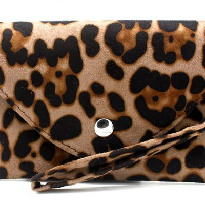 Clutch Panter B beige creme licht bruine leopard print polsbandje portemonnee clutches kopen