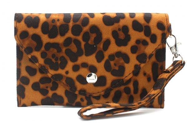 Clutch Panter B bruin bruine leopard print polsbandje portemonnee clutches kopen