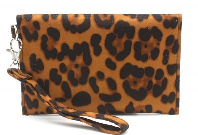 Clutch Panter B bruin bruine leopard print polsbandje portemonnee clutches kopen achter