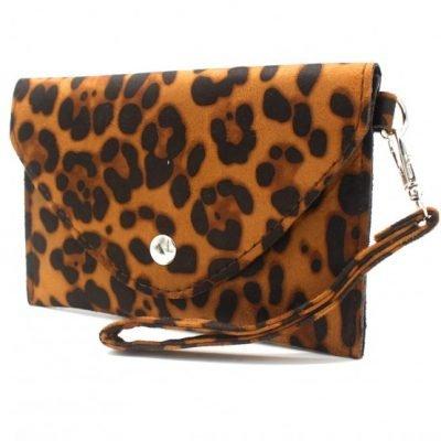 Clutch Panter B bruin bruine leopard print polsbandje portemonnee clutches kopen bestellen