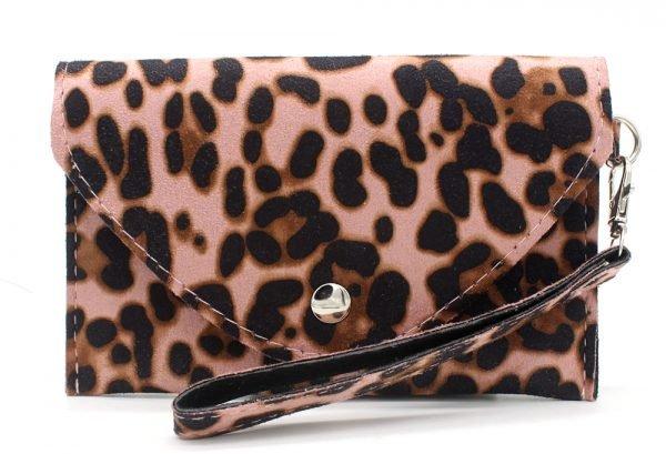 Clutch Panter B roze pink leopard print polsbandje portemonnee clutches kopen