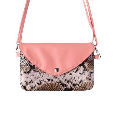 Festival Tasje Snake zalm roze pink slangenprint tasjes schoudertassen tassen tasjes online yehwang kopen