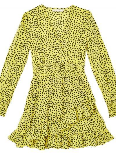 Gele Jurk I Heart U geel jurken zwarte hartjes v hals trendy jurkjes kopen b