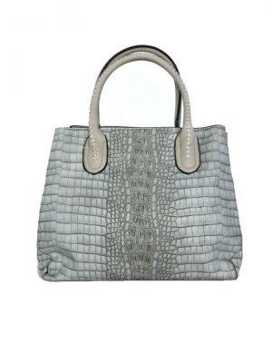 Handtas Croco Belle grijs grijze handtassen kroko print dames tassen giulliano kopen bestellen